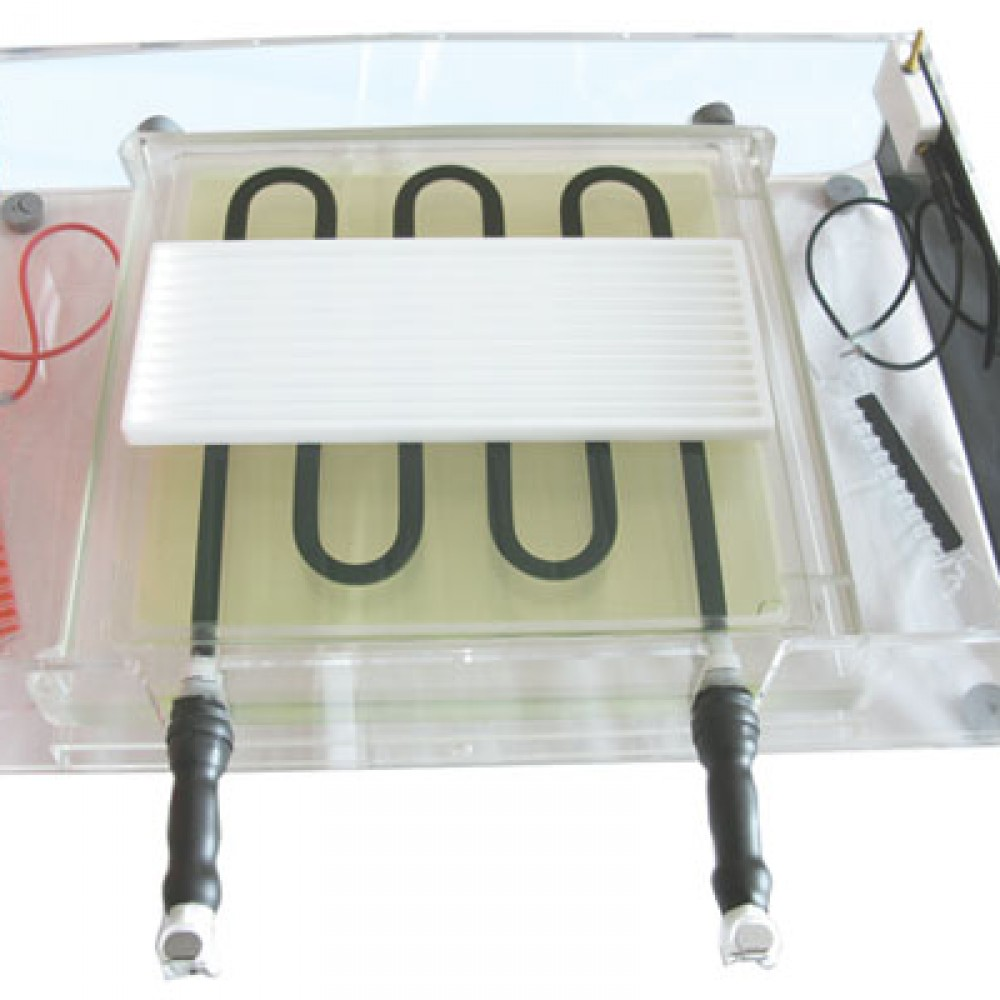 IEF components 1.Focusing Tray 2.Adjustable 'pick-and-place' electrodes 3.Ceramic cooling plate with snap-lock connectors  4. Rehydration tray (not shown) 5. Electrode frame for horizontal precast gels 6.Shrouded 2mm high voltage cables (not shown)